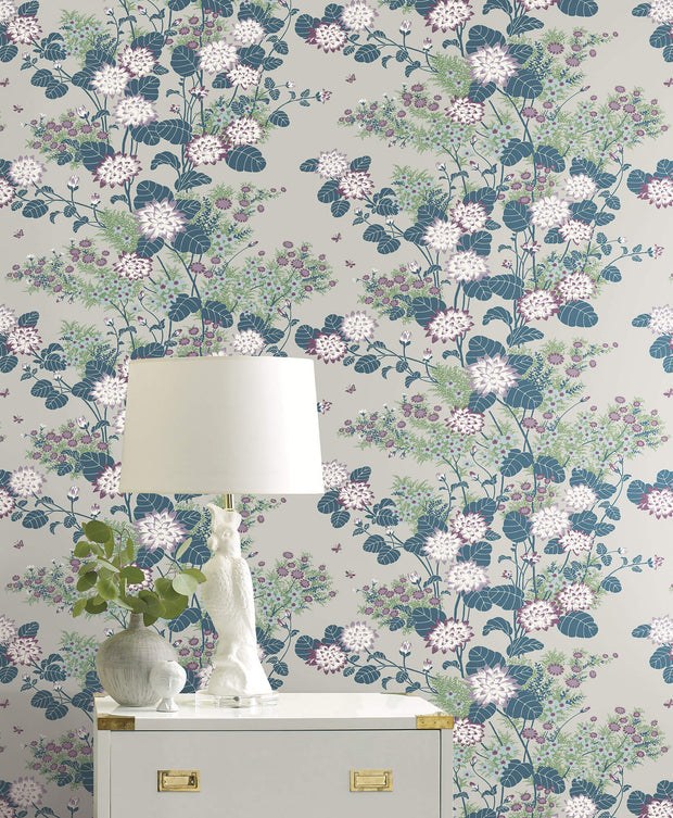 Florence Broadhurst Chinese Floral Wallpaper - Teal/Blue