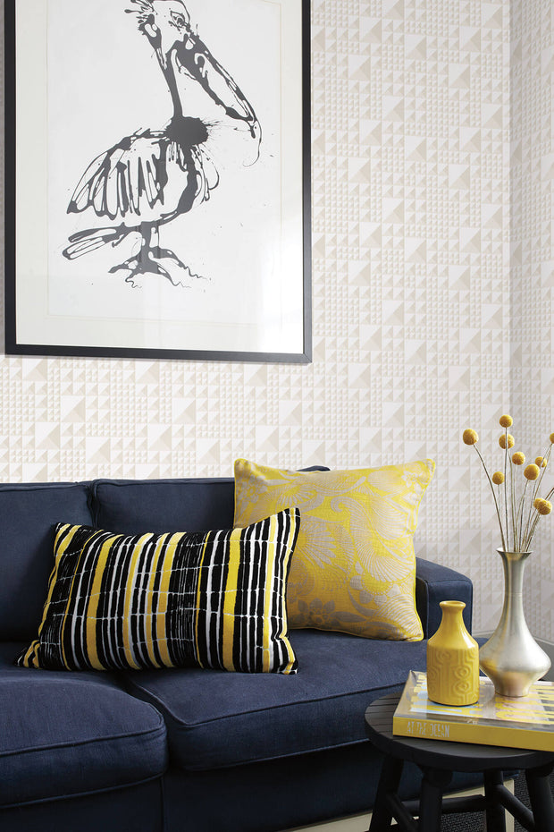 Florence Broadhurst Pyramids Wallpaper - White