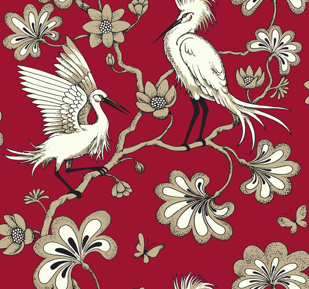 Florence Broadhurst Egrets Wallpaper - Red