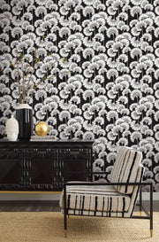 Florence Broadhurst Japanese Floral Wallpaper - Black