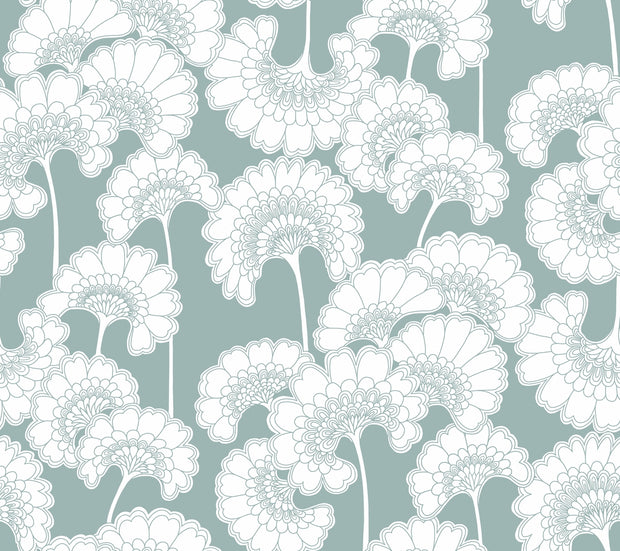 Florence Broadhurst Japanese Floral Wallpaper - Light Blue