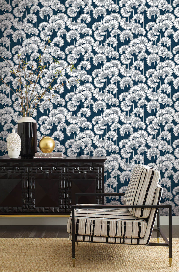 Florence Broadhurst Japanese Floral Wallpaper - Dark Blue
