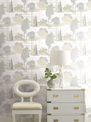 Florence Broadhurst Macarthur Park Wallpaper - Tan, Grey