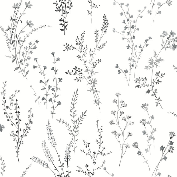 Simply Farmhouse Wildflower Sprigs Wallpaper - Black & White