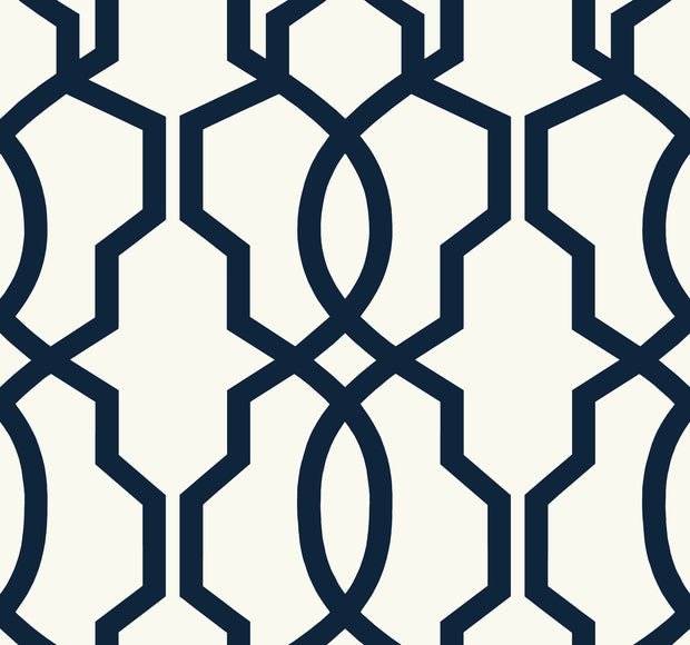 Hourglass Trellis Geometric Wallpaper - Navy Blue