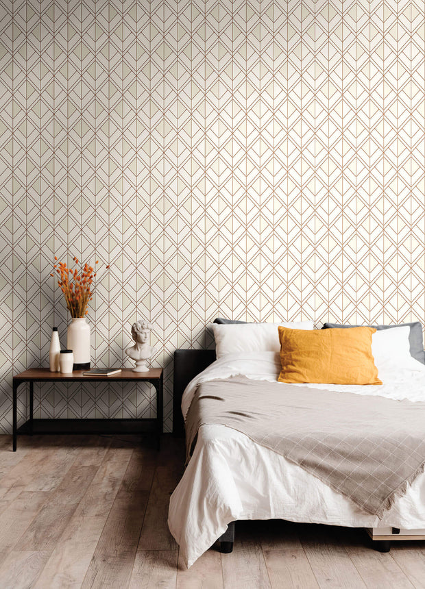 Diamond Shadow Geometric Wallpaper - White & Orange