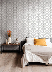 Diamond Shadow Geometric Wallpaper - White & Black