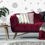 Silver Glitter Christmas Snowflakes Wall Decals