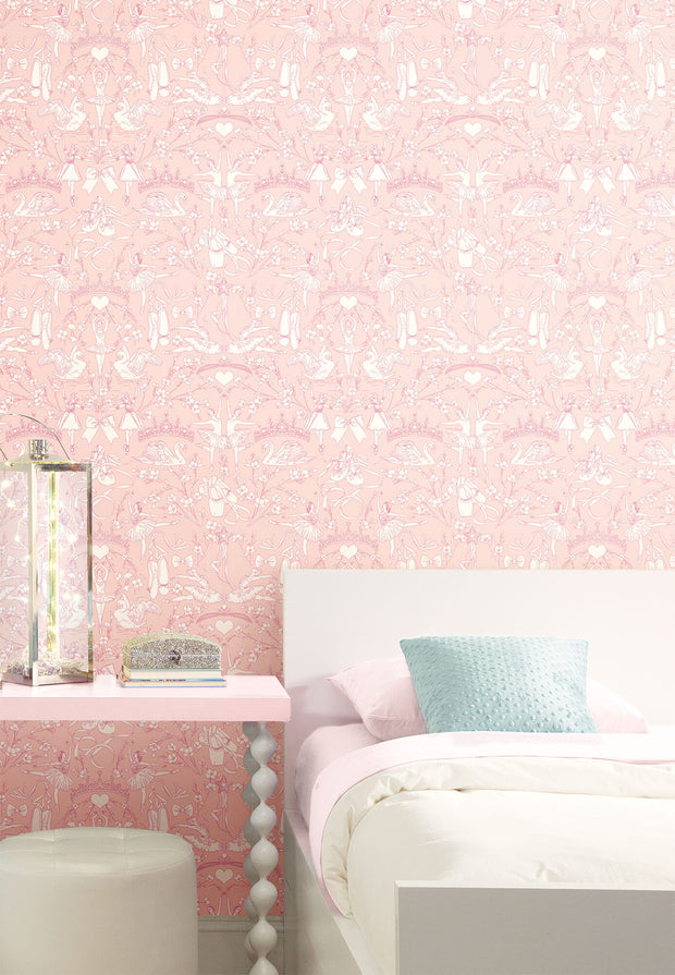 KI0500 Kids Room Ballet Toile Wallpaper York Bright Pink