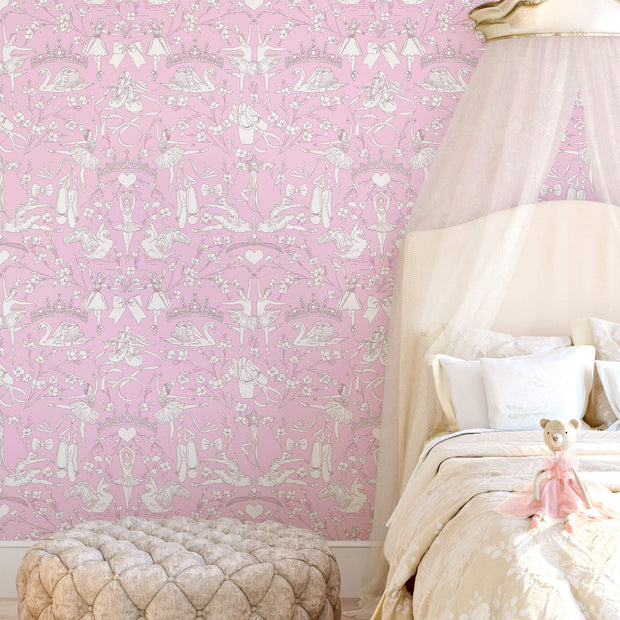 KI0502 Kids Room Ballet Toile Wallpaper York Orchid Pink