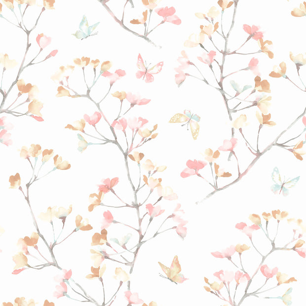 KI0514 Watercolor Branch Wallpaper White Peach Aqua