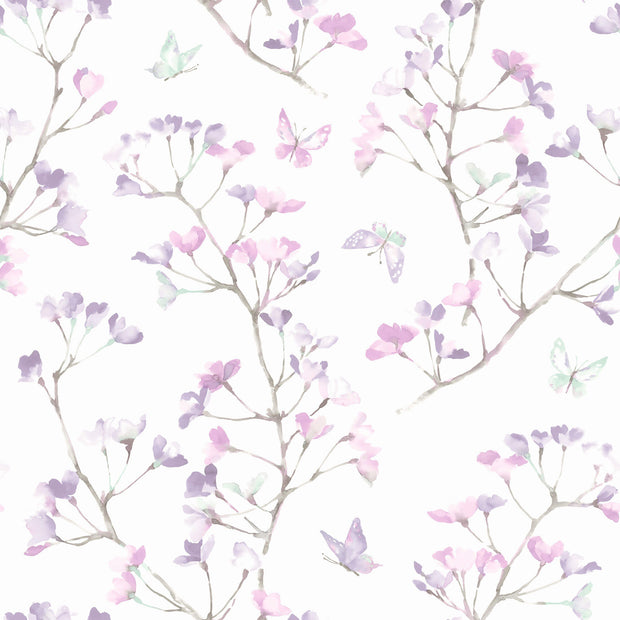 KI0515 Watercolor Branch Wallpaper White Purple