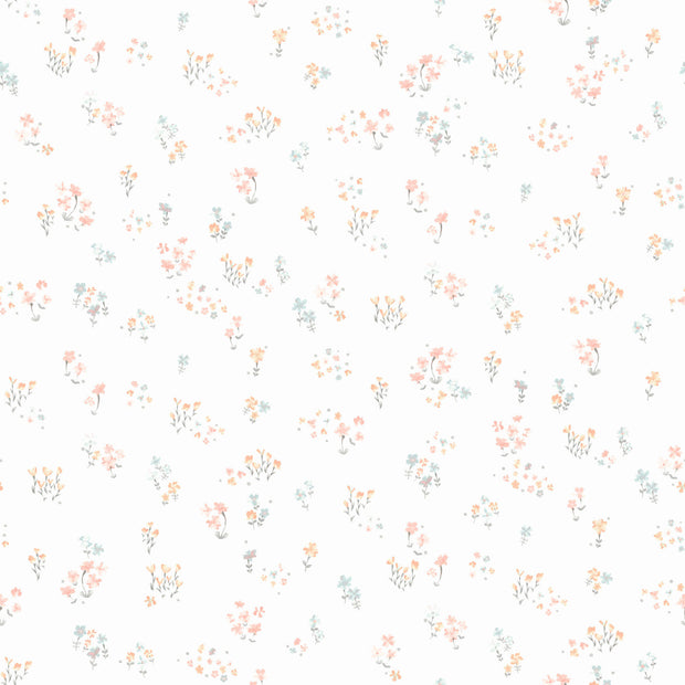KI0519 Watercolor Floral Bouquet Wallpaper Peach Aqua