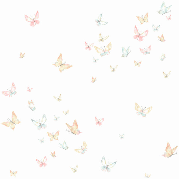 KI0524 Watercolor Butterflies Wallpaper Peach Aqua White