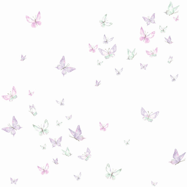 KI0525 Watercolor Butterflies Wallpaper White Purple