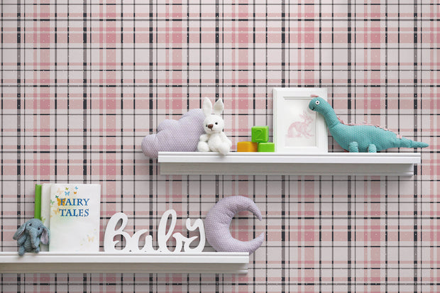 KI0529 Polka Dot Plaid Wallpaper York Pink Black