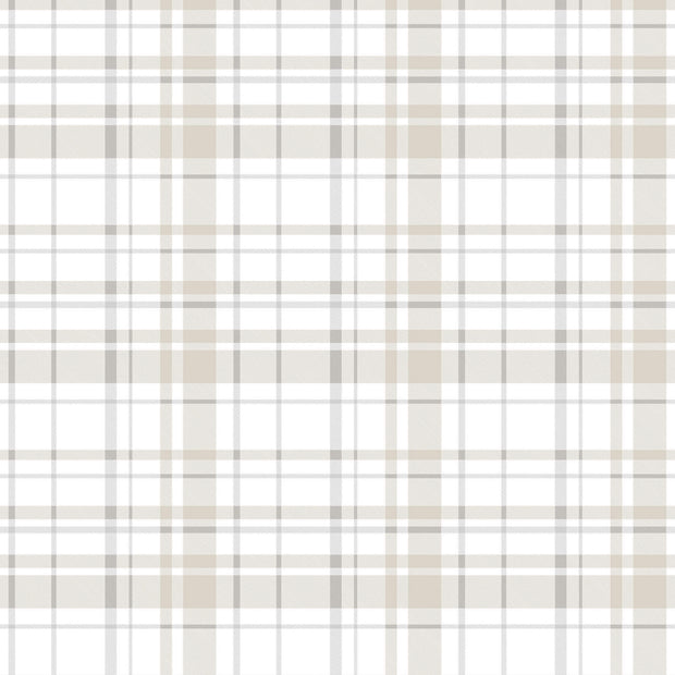 KI0531 Polka Dot Plaid Wallpaper York White Tan Neutral