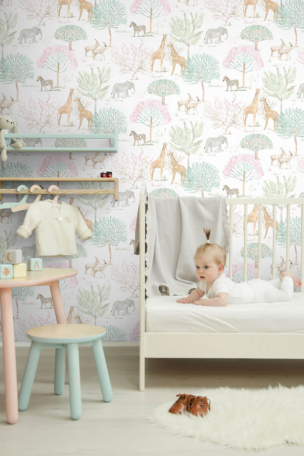 KI0540 Kids Room On The Savanna Wallpaper York Pastel Colors