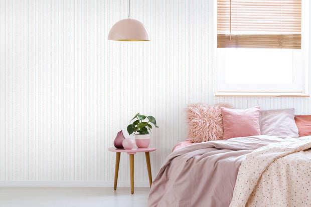 KI0545 Kids Room Dotty Stripe Wallpaper York White Pastel Colors