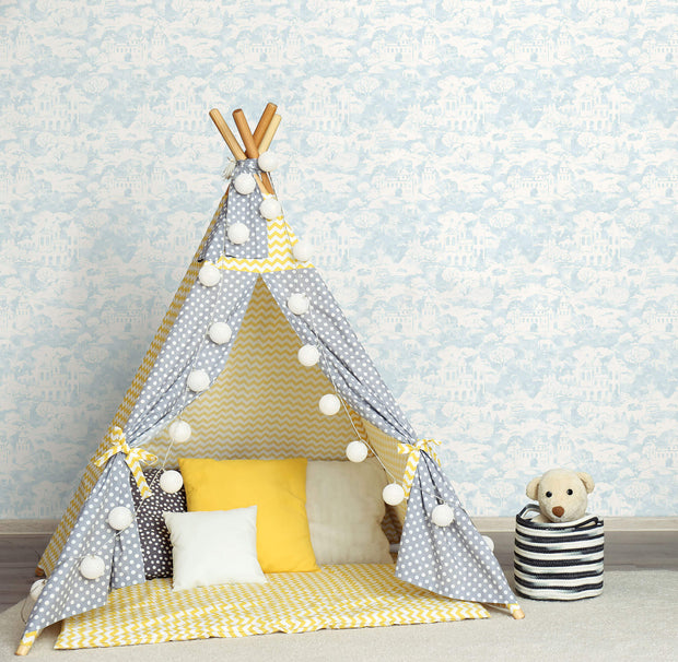 KI0562 Quiet Kingdom Wallpaper teepee kids white Blue