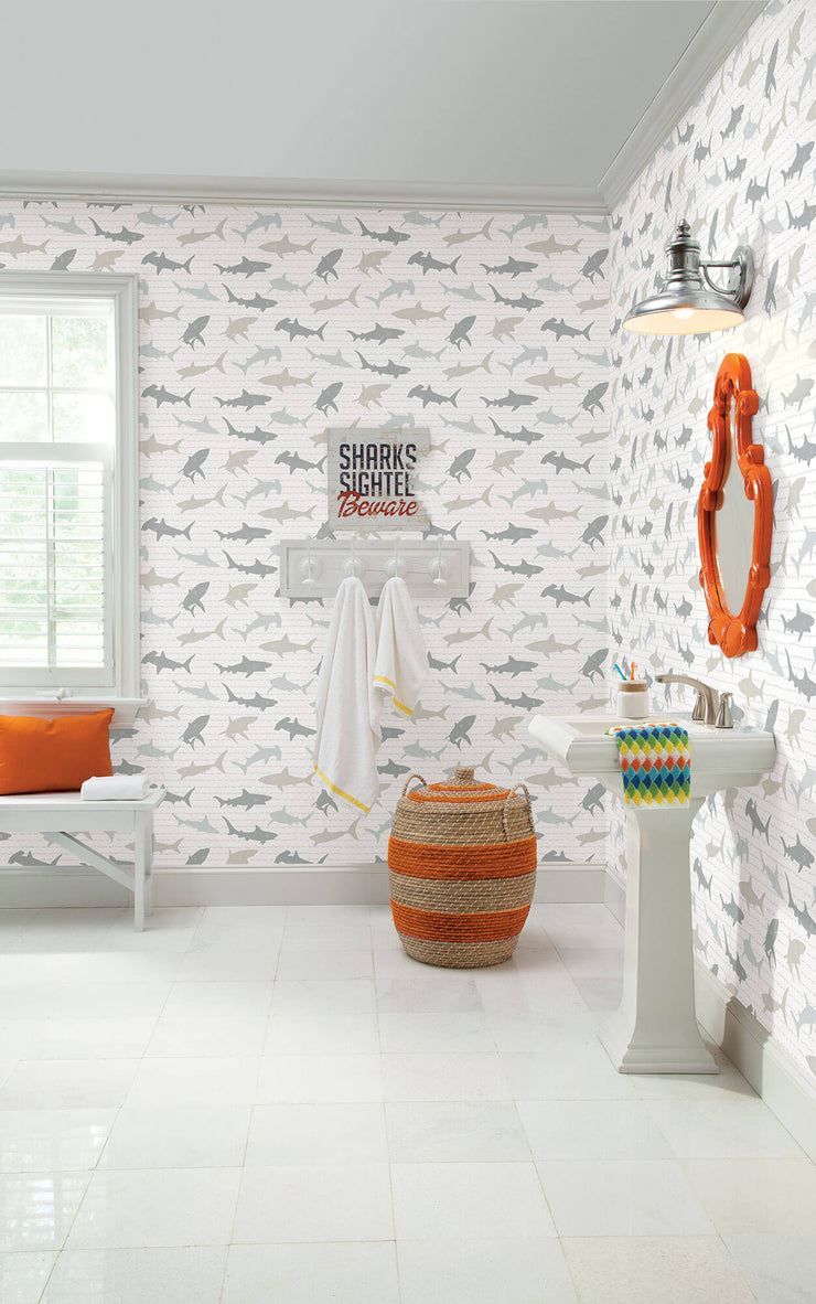 KI0565 Shark Charades Wallpaper white gray