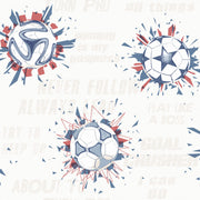 KI0576 Soccer Ball Blast Wallpaper Blue Red