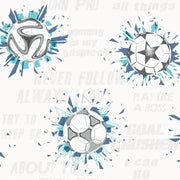KI0577 Soccer Ball Blast Wallpaper Blue Aqua