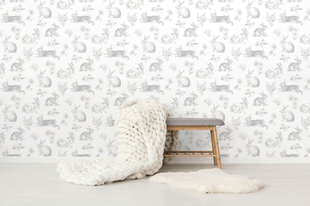 KI0580 Kids Room Bunny Toile Wallpaper York Gray White