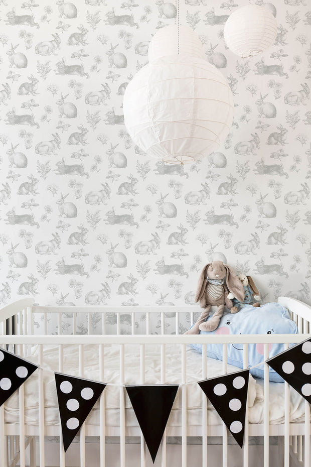KI0580 Nursery Bunny Toile Wallpaper York Gray White