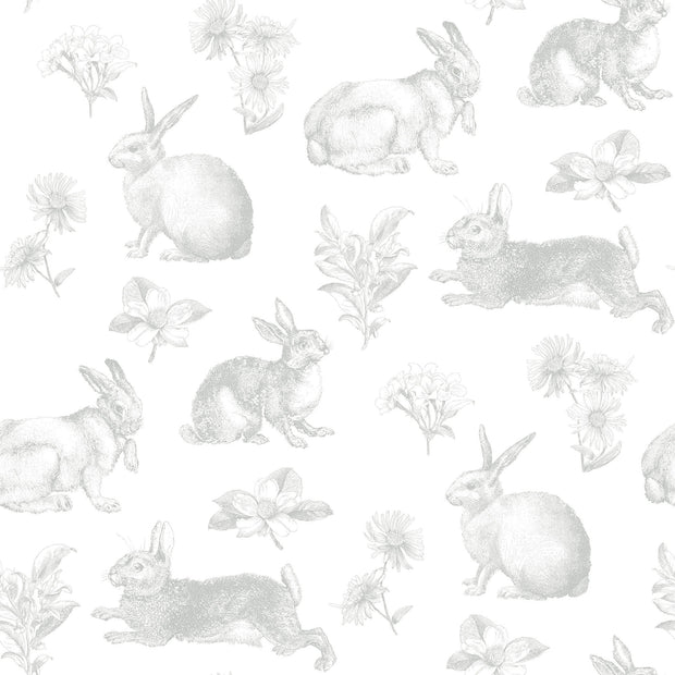 KI0580 Bunny Toile Wallpaper York Gray White