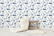 KI0581 Kids Room Bunny Toile Wallpaper York Navy Blue White