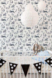 KI0581 Nursery Bunny Toile Wallpaper York Navy Blue White