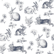KI0581 Bunny Toile Wallpaper York Navy Blue White