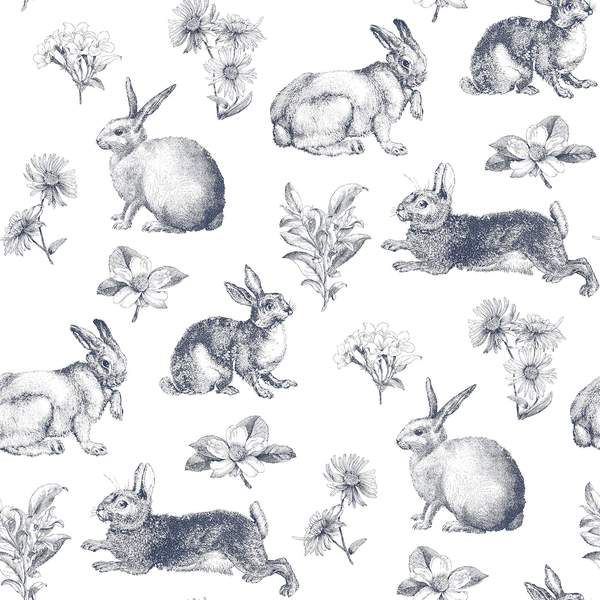 Bunny Toile Wallpaper - SAMPLE ONLY
