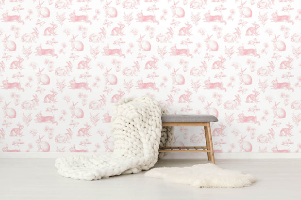 KI0582 Kids Room Bunny Toile Wallpaper York Pink White