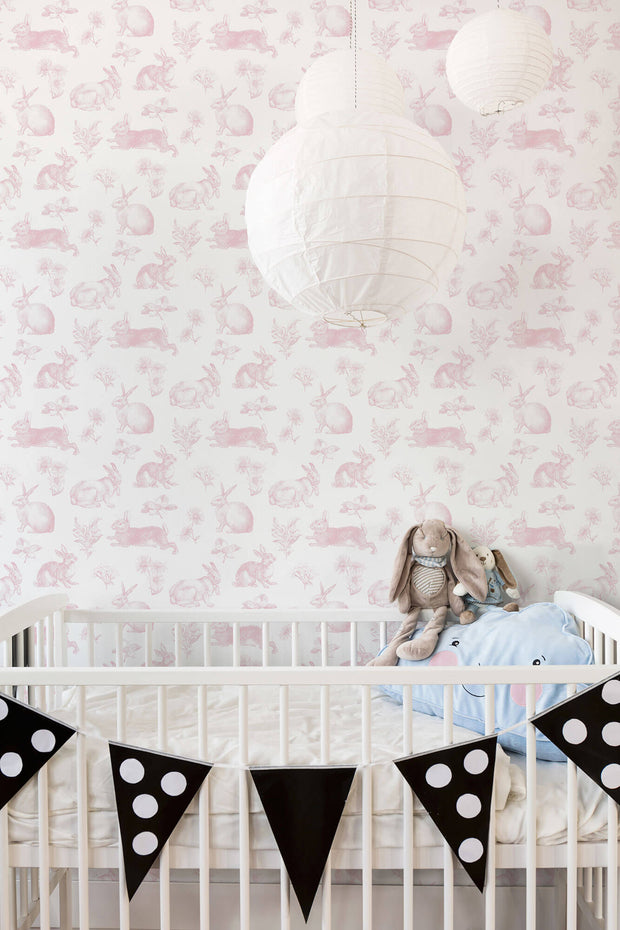 KI0582 Nursery Bunny Toile Wallpaper York Pink White