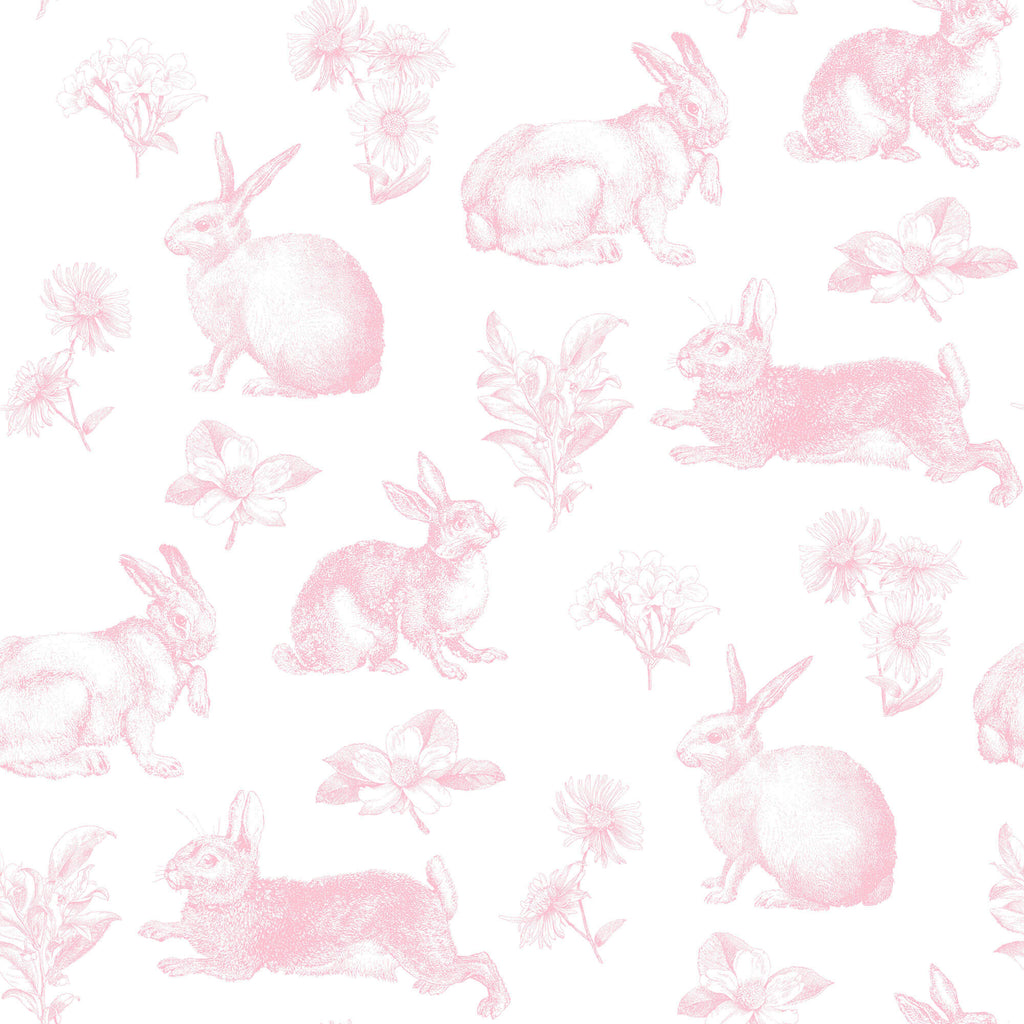 Bunny Toile Wallpaper Pink