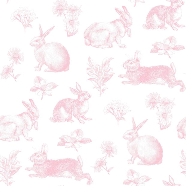 KI0582 Bunny Toile Wallpaper York Pink White