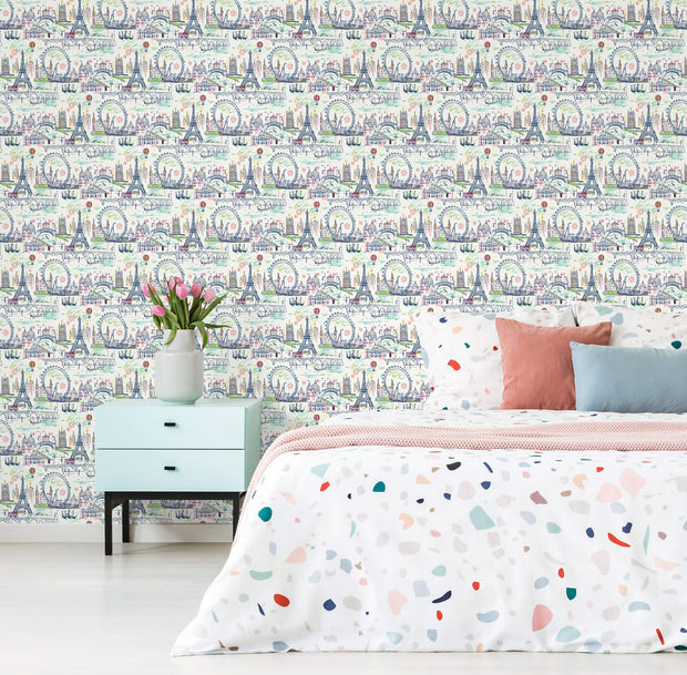 KI0586 Novelty Euro Scenic Wallpaper Pastel Colors