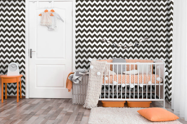 KI0588 Baby Nursery Chevron Sidewall Wallpaper Black