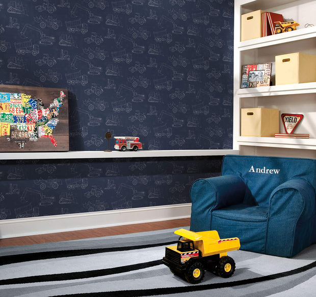 KI0597 Kids Room Construction Blueprint Wallpaper Navy