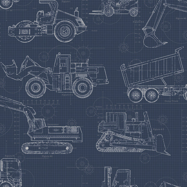 KI0597 Construction Blueprint Wallpaper Navy