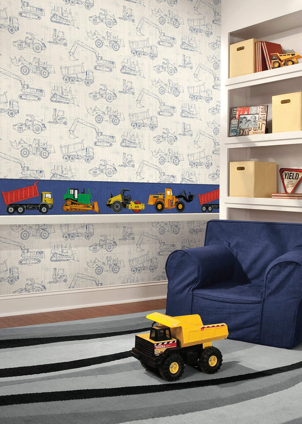 KS2350 Kids Construction Blueprint Wallpaper Navy On White