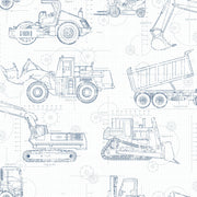 KS2350 Construction Blueprint Wallpaper Navy On White