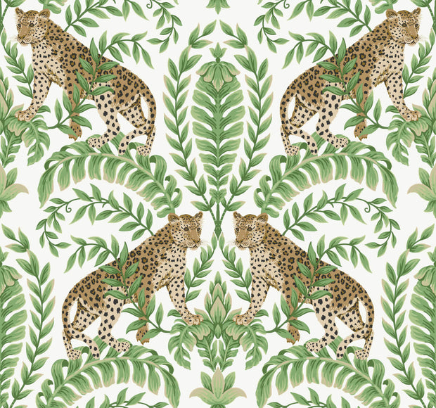 Ronald Redding 24 Karat Jungle Leopard Wallpaper - White & Green