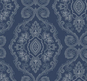 Beach House Nautical Damask Wallpaper - Nautical Blue