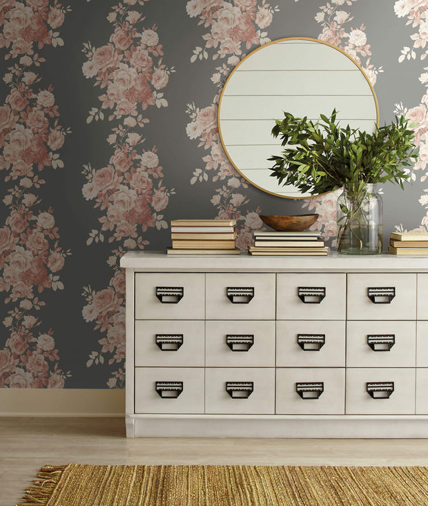 ME1530 Magnolia Home Tea Rose Wallpaper Blush Pink Grey
