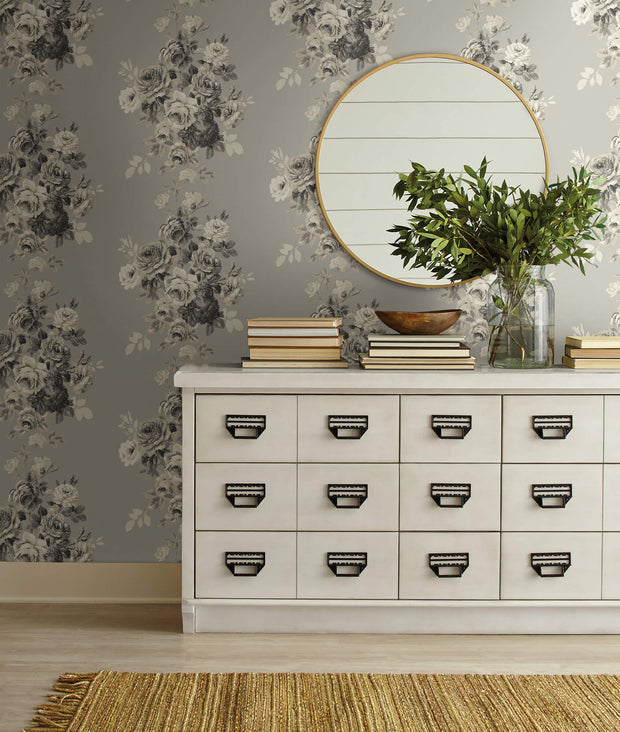 ME1532 Magnolia Home Tea Rose Wallpaper Warm Grey