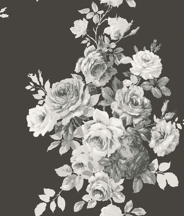 ME1533 Magnolia Home Tea Rose Wallpaper White on Black