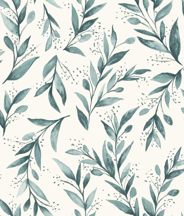 ME1536 Magnolia Home Olive Branch Wallpaper Weekend Teal